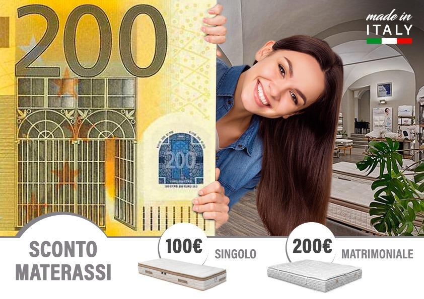 Sconto 100/200€ sui materassi
